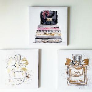 "New Set 3pc Wall Canvas Art  8"" x 8 """